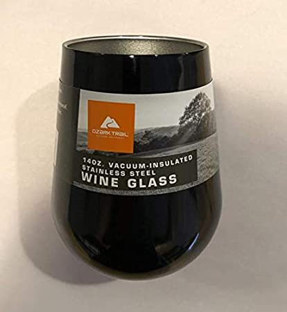 9bd03e010be8 Amazon.com | Ozark Trail Vacuum Insulated Stainless Steel Wine Glass, 14  Ounce - Black: Wine Glasses