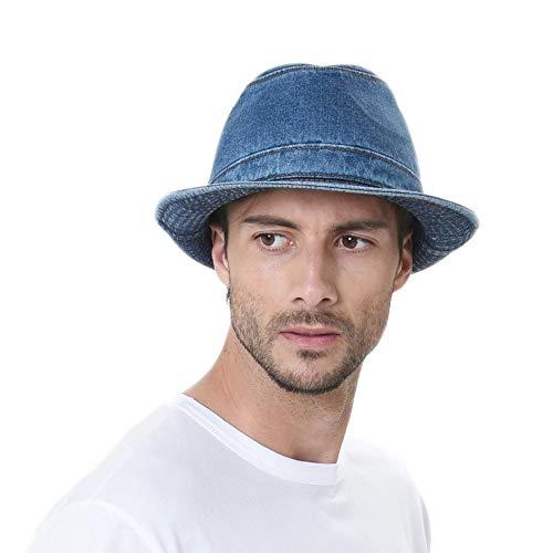 WITHMOONS Denim Fedora Hat Plain Stitch Washed Short Brim DW6646 (Blue, M) (Stitch Fedora)