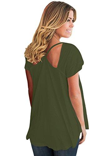 New verde oliva ritaglio Cold spalla camicia donna estate camicia top casual Wear taglia UK 16EU 44