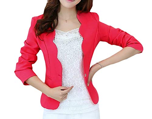 Glamorous Di Alta Giacca Semplice Da Colore Tailleur Suit Giubotto Manica Anteriori Leisure Tasche Donna Lunga Button Autunno Rosarot Moda Business Qualità Puro Outerwear nq6xHU