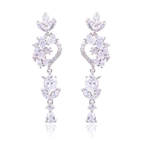 Women's Wedding Bridal Dangle Earrings Bohemian Boho Crystal Flower Chandelier Teardrop Bling Earrings Clear Silver-Tone ()