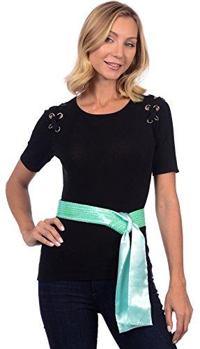 Womens Glamorous Sequin Sequence Fashion Sash Ice Green (Soft Wide Sash)
