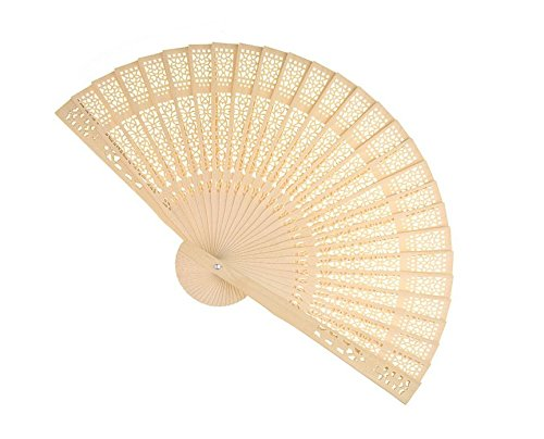Forsun Sandalwood Fan (Set of 50 pcs) - Baby Shower Gifts & Wedding Favors&birthday gifts&Christmas gift by FORSUN (Image #3)