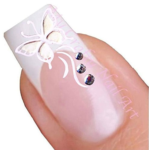 White Rhinestone Butterfly Adhesive Art Nail Stickers My Crafty UK Ltd 01-02-019r
