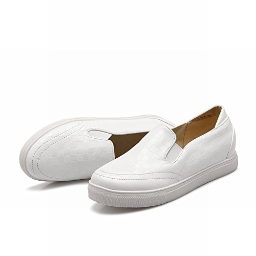 Carolbar Womens Sweet Fashion Geruit Patroon Casual Comfort Cute Simple Loafer Flats White