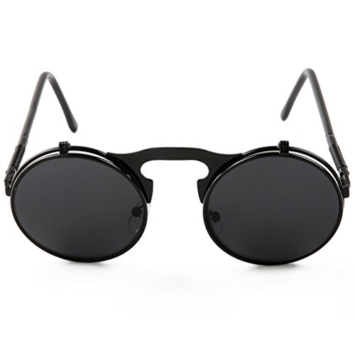 d195544513 Pession Small Retro Steampunk Circle Flip Up Glasses   - Import It All