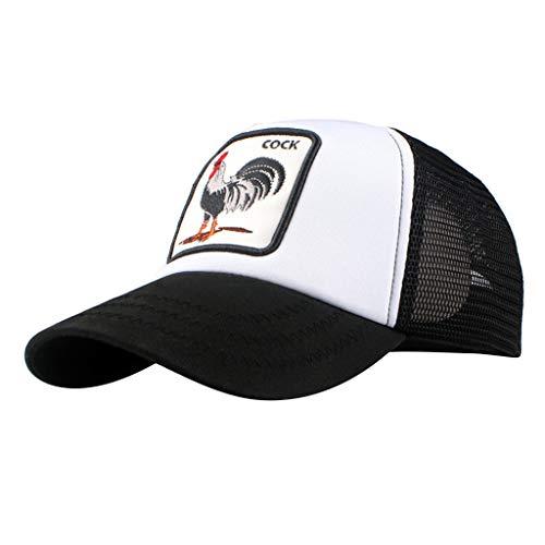 (URIBAKE Men Baseball Cap Fashion Cock Pattern Breathable Mesh Design Peaked Hats Topee Black)