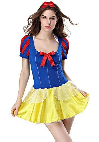 ZEVONDA Women's Snow White Maid Cosplay Outfit Uniform Oktoberfest Costume Naughty Cute Sexy Fancy -