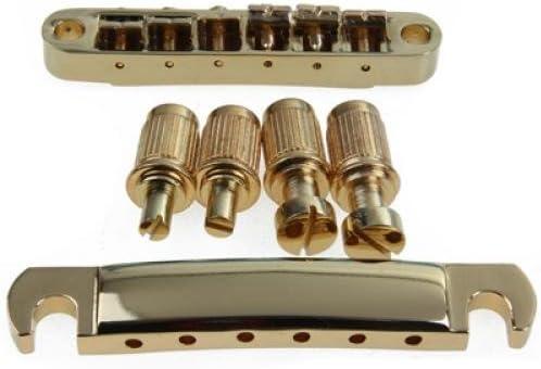 SODIAL® - Puente Tune-O-Matic y bloqueo cordal, tipo ABR-1, para Les Paul y guitarra eléctrica Gibson, color dorado