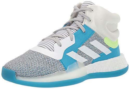 adidas Unisex Marquee Boost, Grey/White/Shock Cyan, 6 M US Big Kid