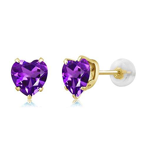 Gem Stone King 1.30 Ct Heart Shape 6mm Purple Amethyst 10K Yellow Gold Stud Earrings