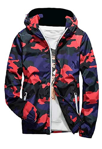 with Red Zips Hood RkBaoye Runnung Military Fashional Camo Jacket Activewear Men's qx1nHwvgX