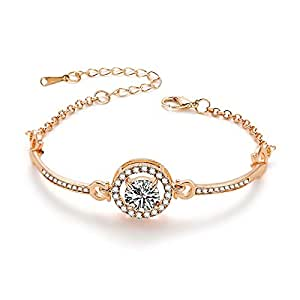 Beautiful Ladies Hollowed zircon Rhinestone alloy Bangle Rose Gold chain length 5.7in Extensionable 1.13in