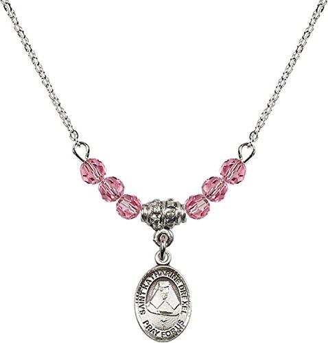 October Birth Month Bead Necklace with Saint Katharine Drexel Petite Charm, 18 Inch
