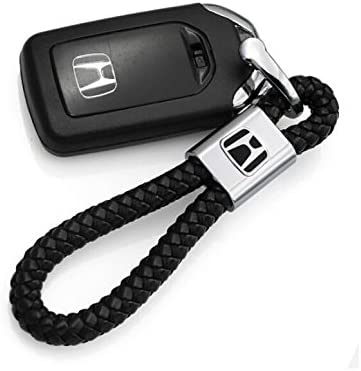 Honda BearFire Car Logo Emblem Key Chain Key Ring Metal Alloy BV Calf Style Black Leather Gift Decoration Accessories
