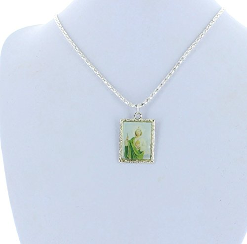 "Religoius Jewelry, Silver, Photo Charm, 16"" Chain, St. Jude"