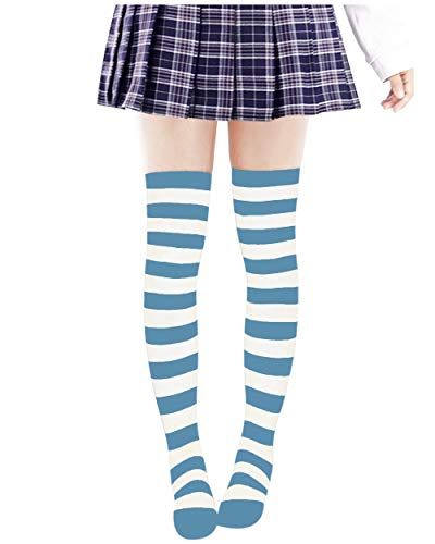 DAZCOS Anime Multicolor Preppy Over Knee Mizore Shimakaze Stripe Stockings (Light Blue+White) -