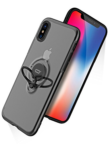 iPhone X Case, iPhone 10 Case with Ring Holder Kickstand, 360°Adjustable Ring Grip Stand Work with Magnetic Car Mount Anti-Fingerprint Slim Cover for Apple iPhone X (2017) 5.8 inch - Clear