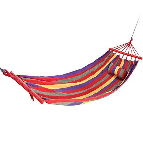 TRIXES Hamac en toile épaisse pour camping à l'extérieur coloré, à rayures, pour jardin hamac et sac