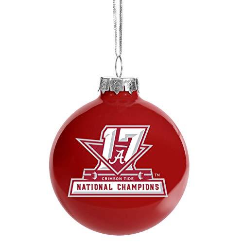 FOCO Forever Collectibles NCAA Alabama Crimson Tide 2017 National Championship Glass Ball Christmas Tree Ornament-2 5/8