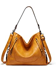 Hobo Shoulder Bag Handbags for Women Leather Waterproof Large Crossbody Bags with Zipper Tote Bags-Handle Purse For Ladies