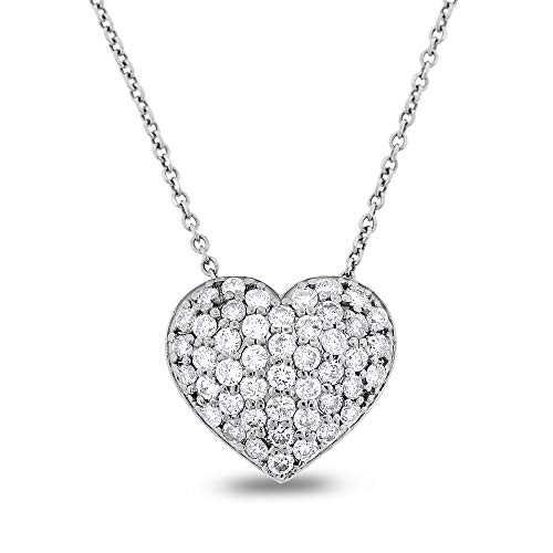 0.88 Ct. Natural Diamond Puffy Pillow Heart Love Pendant in Solid 14k White Gold ()