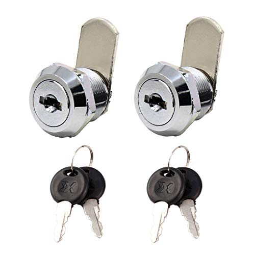 Higomall Cabinet Tubular Cam Lock, 5/8 Inch(16mm) Barrel Length, 45/64 Inch(18mm) Thread Bolt Diameter, Keyed Alike, Chrome Finish, 2 Pack