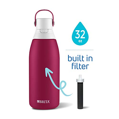 Brita Insulated Stainless Steel Water Filter Bottle, 32 oz, Ruby