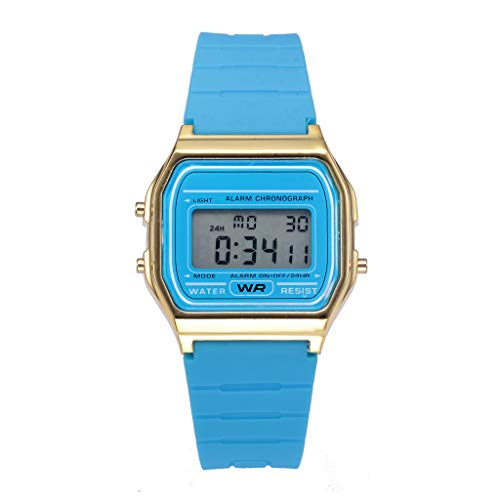 Sodoop Women's Men's Classic Simple Petite Electronic Watch Stainless Steel Square Simple Led Watch Digital Sports Waterproof Digital Led Watches Croton Mens Blue Dial