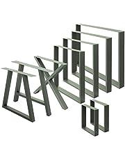ECD Germany 2x vierkante tafelpoten, 30 x 43 cm, steengrijs, gepoedercoat staal, industrieel ontwerp, metalen tafellopers tafelonderstel meubelpoten, voor eettafel bureau