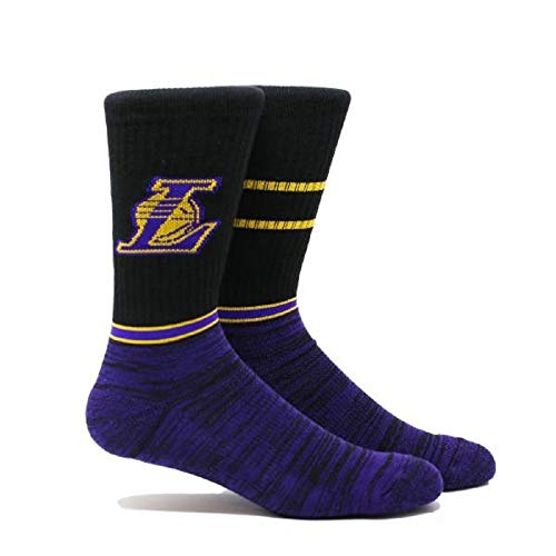 PKWY NBA Los Angeles Lakers Crew Socks (2 Styles) Size Large (Block Crew)