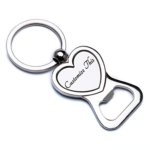 Fanery Sue Beer Bottle Opener Keychain Personalized Name Keychain Custom Key Tag Key Ring Engraved Any Message(Heart Shape)