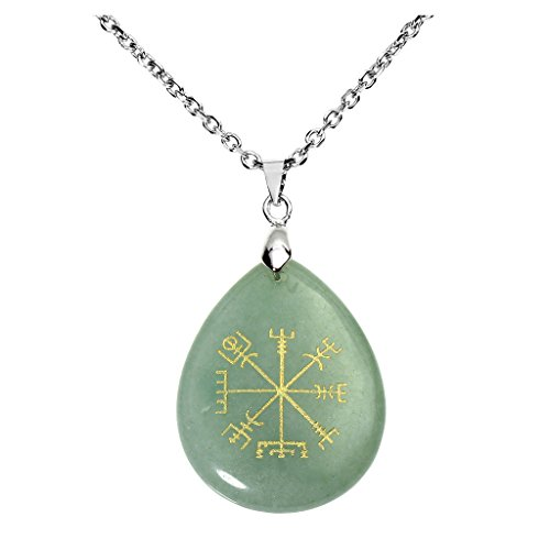 Pendant Protection Talisman (Jovivi Silver Plated Viking Compass Vegvisir Gemstone Healing Crystal Teardrop Chakra Pendant with 24