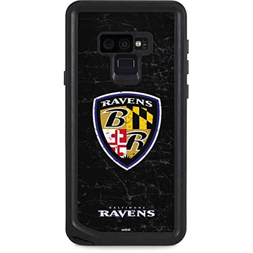 Skinit NFL Baltimore Ravens Galaxy Note 9 Waterproof Case - Baltimore Ravens - Alternate Distressed Design - Sweat-Proof, Snow-Proof, Dirt-Proof, Dust-Proof Phone Cover