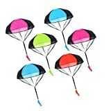 LEEQ 6 Pieces Parachute Toys Tangle Free Throwing Hand Throw Soldiers Toss It Up and Watching Landing Outdoor Toys for Kids