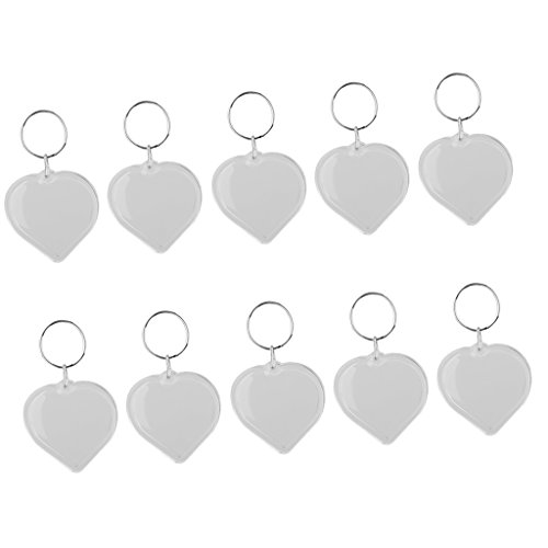 (Baoblaze 10 x Clear Acrylic Photo Keychains, 38x25mm Heart Shaped Blank Keyring Insert Pictures, Custom Key Ring Handbag Charm Tote Bag Purse Wallet)