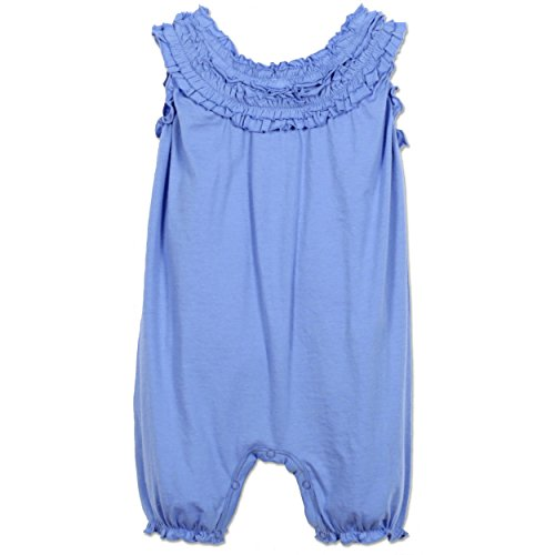 - Feather Baby Girls Clothes Pima Cotton Short Sleeve Double Ruffle One-Piece Romper, 3-6 Months, Cornflower Blue