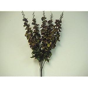 "GREEN PURPLE Delphinium Bush Artificial Silk Flowers 28"" Bouquet 904GRPU 52"