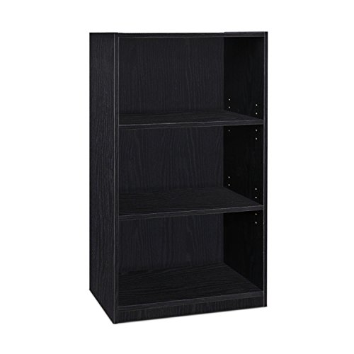 FURINNO JAYA Simple Home 3-Tier Adjustable Shelf Bookcase, Black