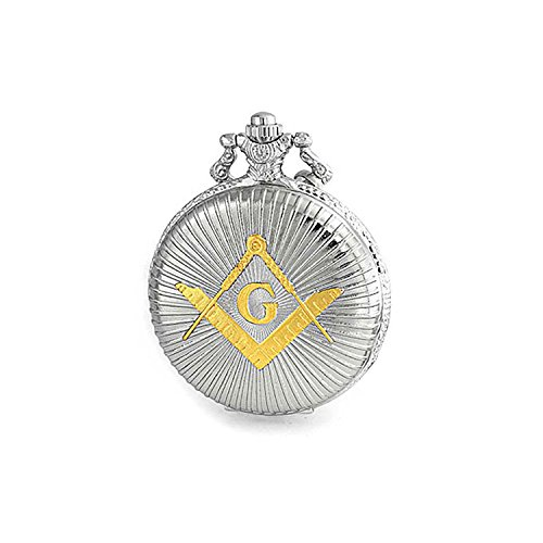 - Master Masonic Quartz Mens Pocket Watch Freemason Two Tone Silver Plating Gold Plating with Chain