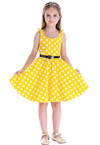 Bow Dream Girls Dresses Retro 1950s Vintage Swing Party Dresses Dots Yellow 6 -