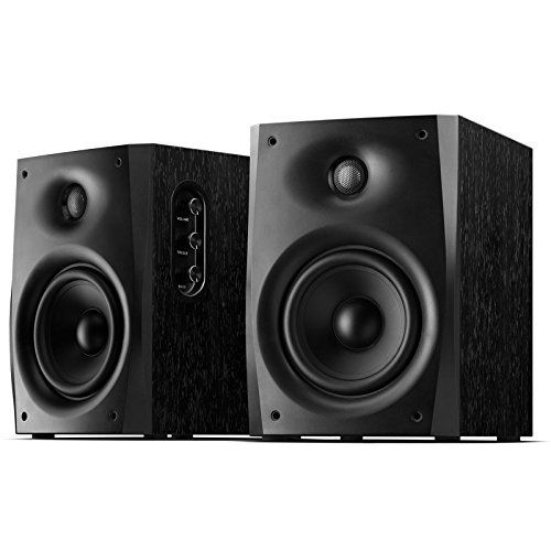 Swan Speakers – D1080-IV – Powered 2.0 Bookshelf Speakers – Wooden Cabinet – 5.25″ midrange drivers, delivers room-filling sound without taking up much space – Excellent Heat Dissipation