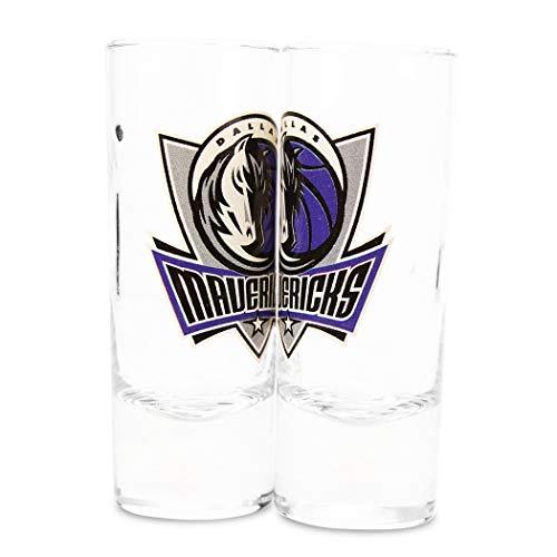 NBA Color Team Logo 2 oz Cordial Shot Glass 2-Pack (Dallas Mavericks) (Maverick Glass)