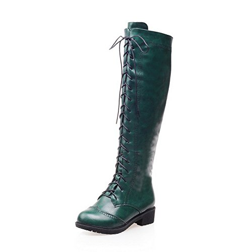 Closed Green Toe AmoonyFashion Materials Boots Heels Women's high Knee Low Round Blend xE4f1Ew6