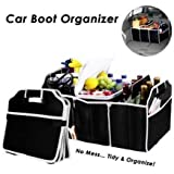 SHOPPING&MART Car Trunk Organizer Heavy Duty 3 Large Sections Collapsible Folding Storage Bin Trunk Storage Box Water Bottle Holder Grocery Bag