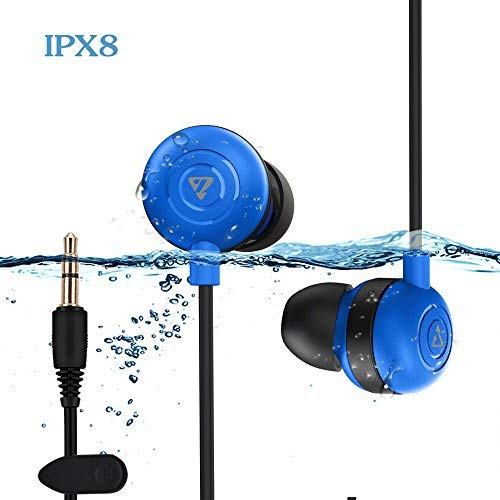 Waterproof Earbuds IPX8 Swimming Earphones in-Ear Headphones with Stereo Audio Extension Cable,Sport Earphones 100% Waterproof Swimming Earbuds VZ SPORT MATE(Blue)