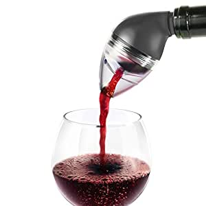 INNOKA Wine On-Bottle Aerator Pourer, Aerating Wine Decanter Spout, Black - Speed Up Breathing Process in Seconds [ Makes Red Wine Taste Twice As Good ]