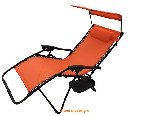 Styled Shopping Deluxe Oversized Extra Large Zero Gravity Chair with Canopy + Tray - Orange