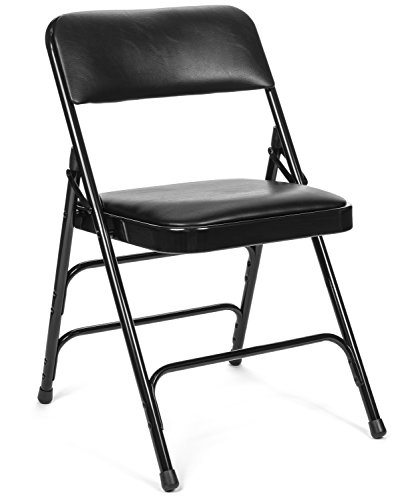 Commercial Vinyl Padded Folding Chair, Triple Cross Bracing, Quad Hinging, 300 lb Tested, 4 pack (Black) by Folding Chairs and Tables
