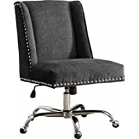 Linon Draper Office Chair Udder Madness Milk - Walnut Wood Base, Charcoal